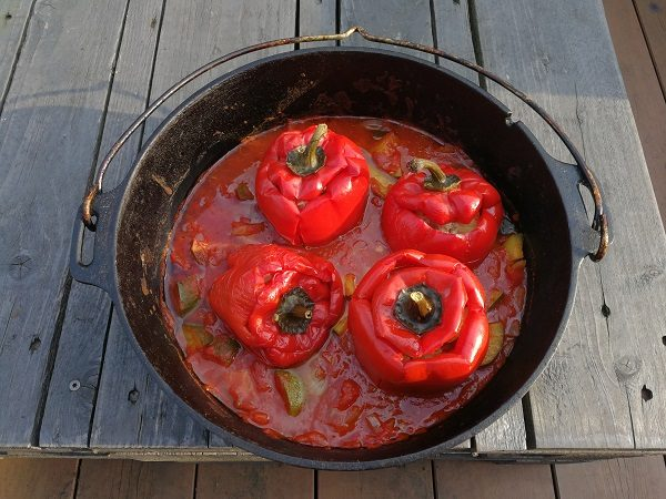 Gefüllte Paprika mit Tomaten-Zucchini-Sauce