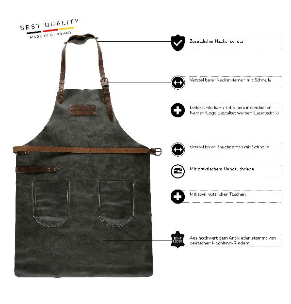 FEUERMEISTER® Lederschürze in Antikleder Farbe Anthrazit mit Taschen