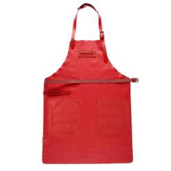 FEUERMEISTER® Lederschürze in Nappaleder Farbe Rot mit Taschen und roter Beriemung