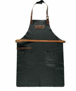 FEUERMEISTER® Lederschürze in Nappaleder Farbe Schwarz mit Taschen und brauner Beriemung