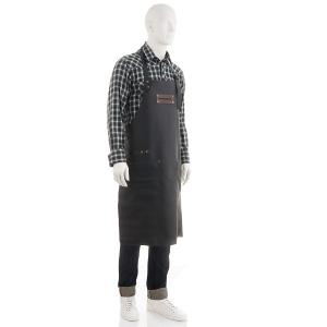 FEUERMEISTER® Lederschürze in Nappaleder Farbe Schwarz mit Taschen und schwarzer Beriemung